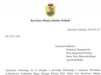 Pismo Burmistrza Miasta
