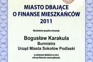 Dyplom dla miasta dbającego o finanse mieszkańców
