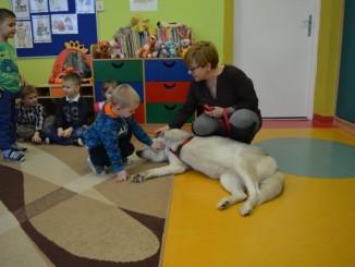 Przedszkolaki na spotkaniu z psem