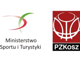 Logo Ministerstwa Sportu i Turystyki oraz Polskiego Związku Koszykówki
