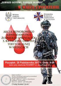 foto: Zbiórka krwi - akcja 5. batalionu Obrony Terytorialnej w Siedlcach - plakat 2 212x300