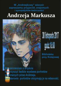 """foto: """"Andrzejkowy"""" wieczór w Miejskiej Bibliotece Publicznej - plakat Andrzej Markusz 215x300"""