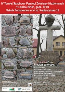foto: IV Turniej Szachowy Pamięci Żołnierzy Niezłomnych - plakat 212x300