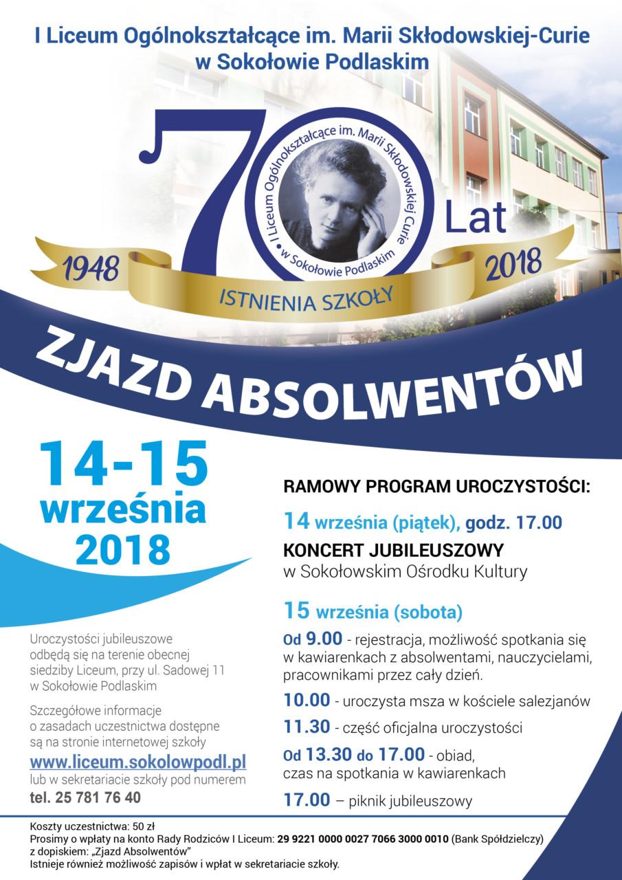 foto: Plakat informacyjny - plakat 70lat LO