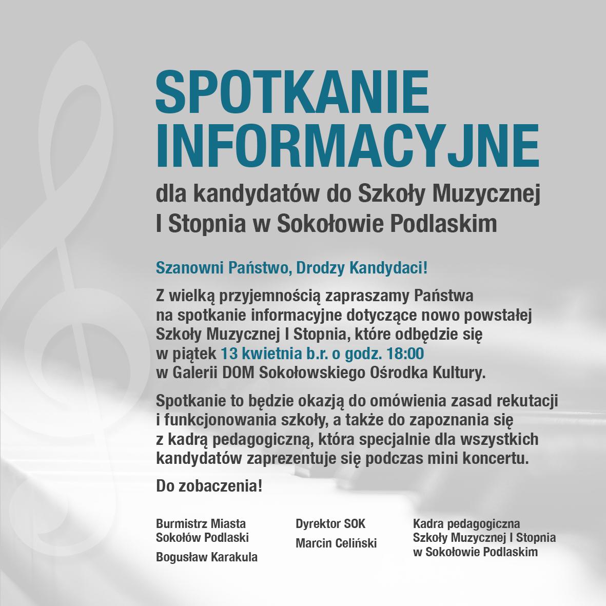 foto: Plakat informacyjny - spotkanie informacyjne szkola muzyczna