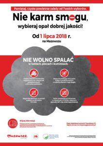 foto: Uwaga! 1 lipca br. wszedł w życie zakaz spalania paliw wskazanych w mazowieckiej uchwale antysmogowej - plakat zakaz palenia 1 212x300