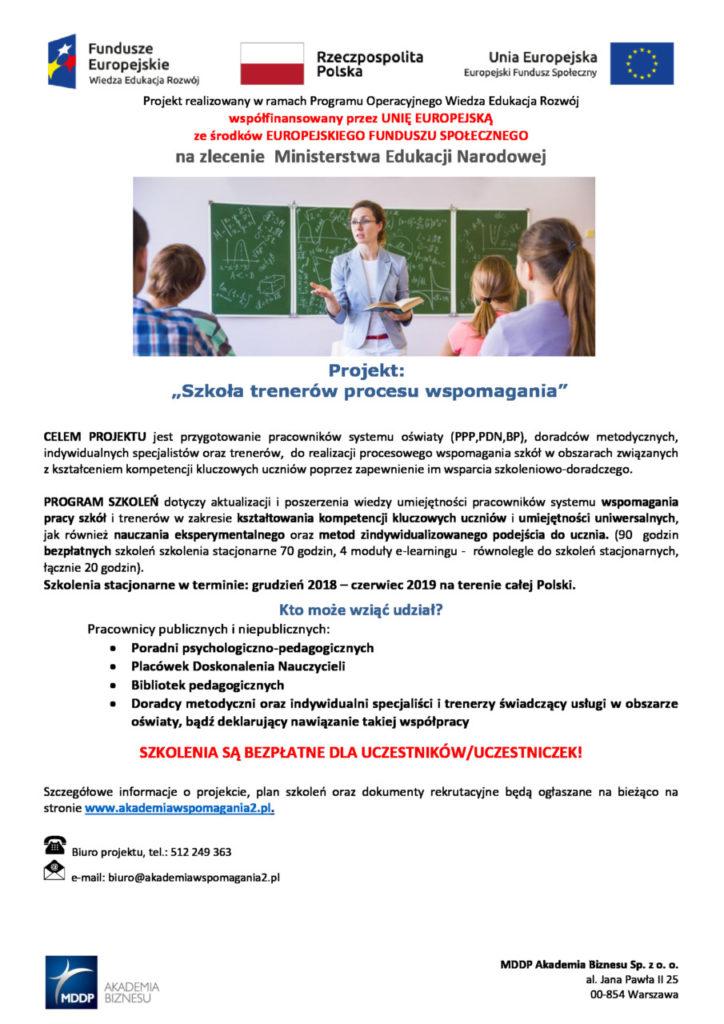 """foto: """"Szkoła Trenerów Procesu Wspomagania"""" - plakat FB poprawione Arażna 724x1024"""