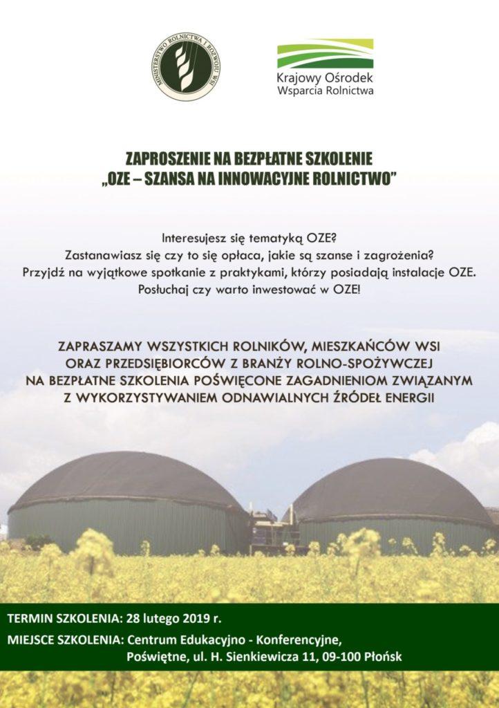 foto: OZE - szansa na innowacyjne rolnictwo - ulotka OZE a Warszawa 722x1024