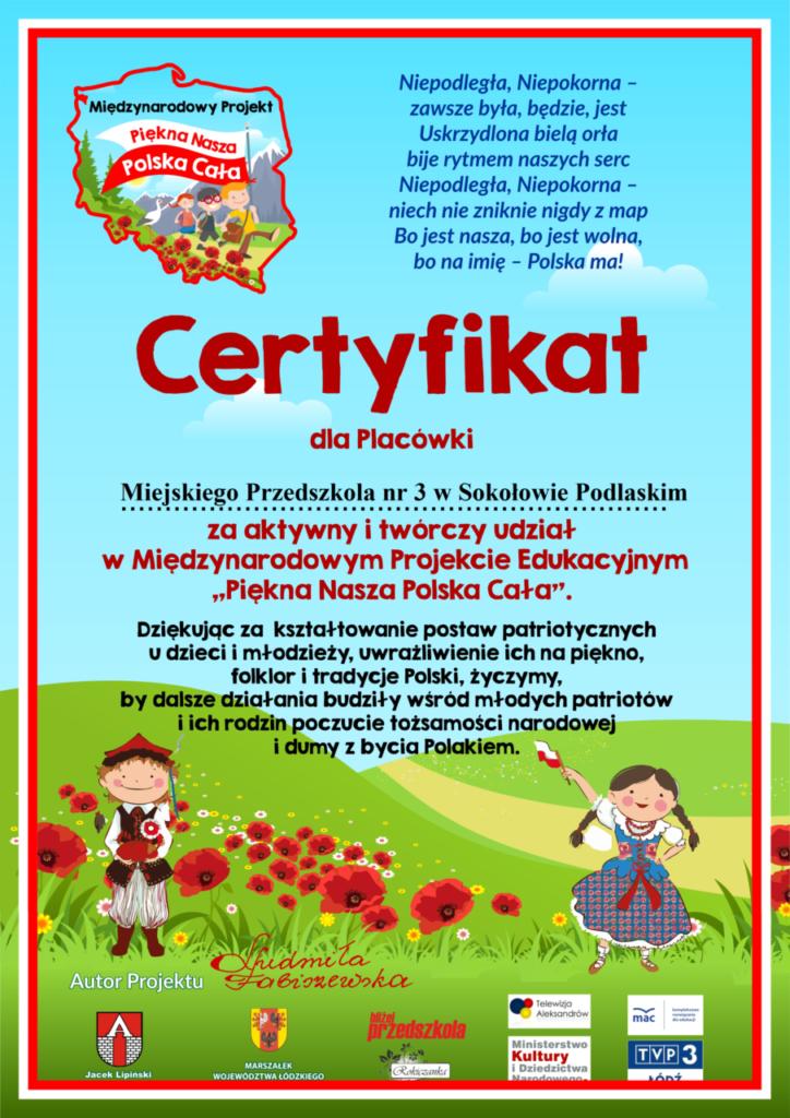 foto: Międzynarodowy Certyfikat dla MP3 - 1 certyfikat 724x1024