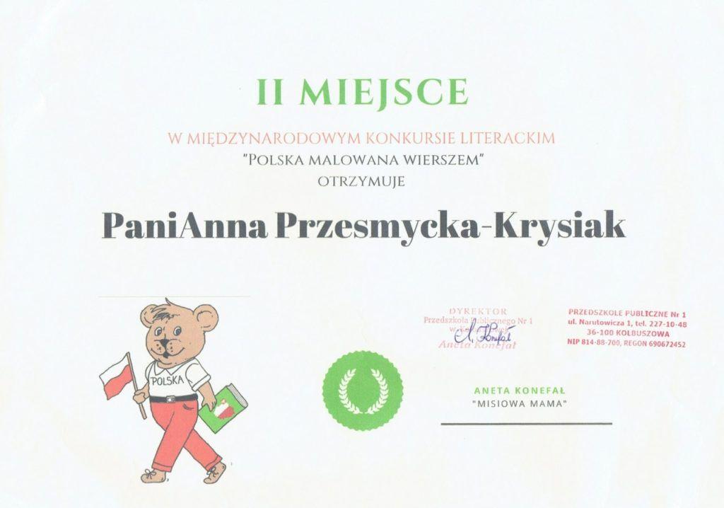 foto: Ponowny sukces literacki MP5 - Dyplom Polska wierszem malowana 1024x718