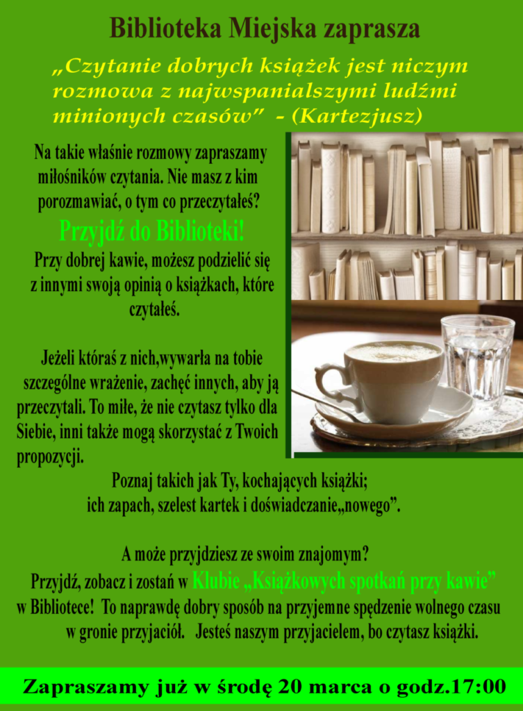 foto: Książkowe spotkania przy kawie w MBP - plakat na DKK pion 753x1024