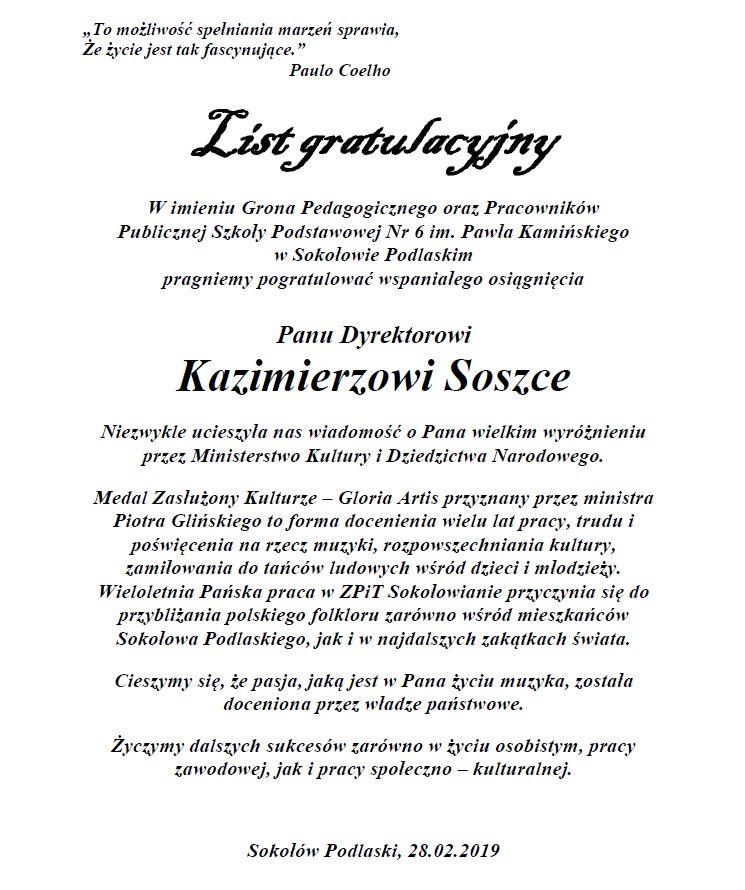foto:  - list gratulacyjny k soszka