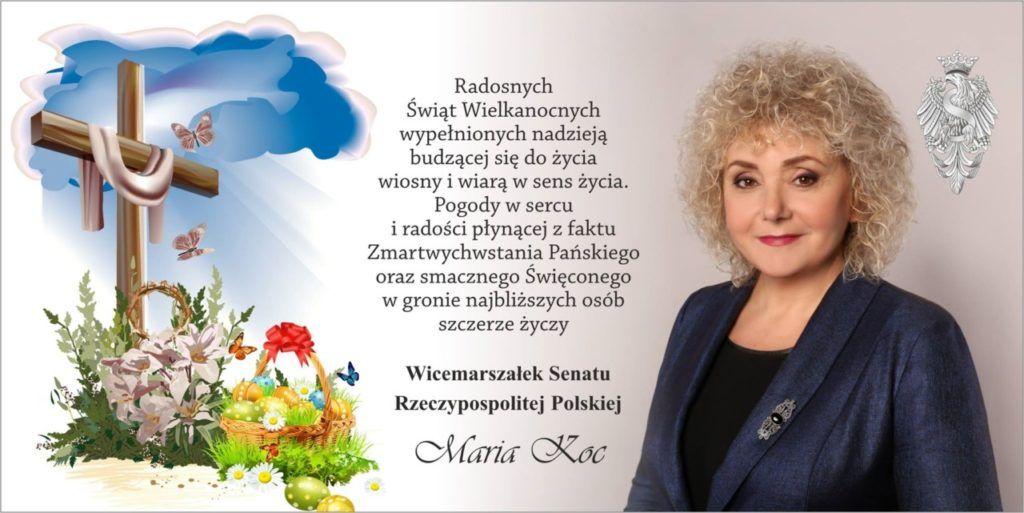 foto: Życzenia świąteczne od Wicemarszałek Senatu RP Marii Koc - życzenia 1024x513