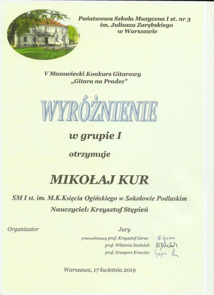 foto: Pierwszy sukces ucznia sokołowskiej Szkoły Muzycznej - Wyróżnienie Mikolaj Kur 1 744x1024