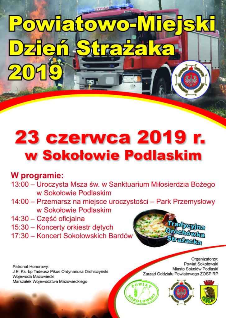 foto: Powiatowo - Miejski Dzień Strażaka 2019 - Plakat Powiatowy Dzień Strażaka 2019 727x1024