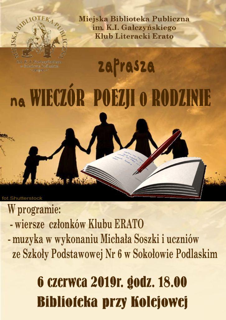 foto: Wieczór poezji o Rodzinie w MBP - plakat rodzina 726x1024