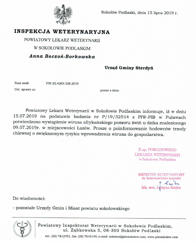 foto: Pismo inspekcji Weterynaryjnej - asf Łazów