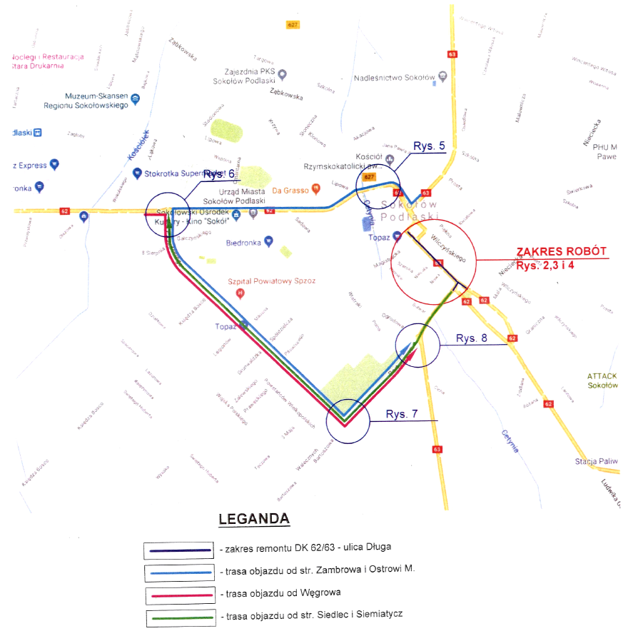 foto: Mapa - dluga objazdy