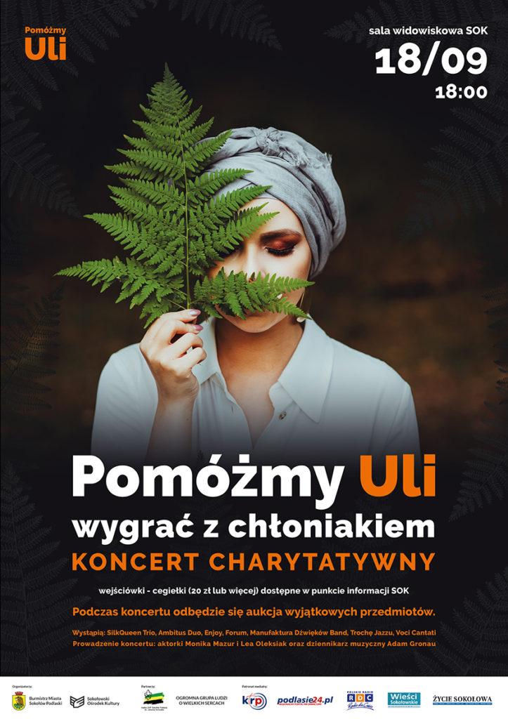 """foto: Koncert charytatywny """"Pomóżmy Uli wygrać z chłoniakiem"""" - plakat ula koncert 723x1024"""