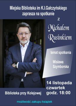 foto: Spotkanie z Michałem Rusinkiem w MBP - plakat m rusinek 738x1024