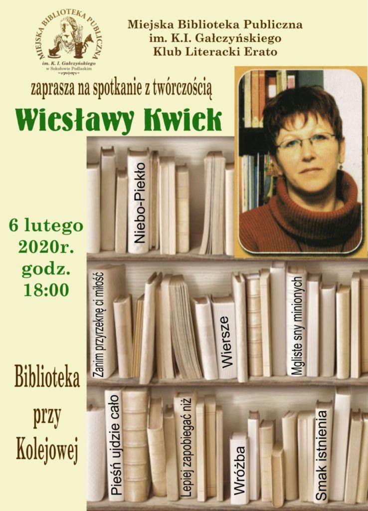 foto: Spotkanie z twórczością Wiesławy Kwiek - plakat na spotkaniepng mniejszy 738x1024
