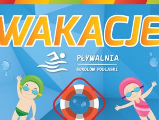 Wakacje na pływalni - plakat