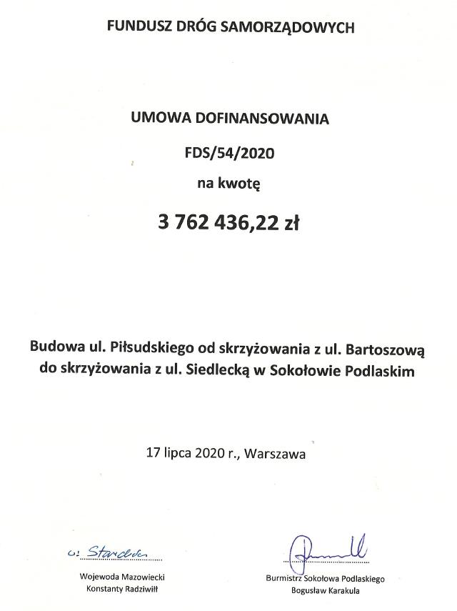 Strona tytułowa umowy
