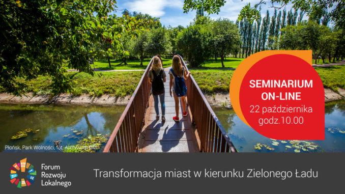 """Grafika seminarium """"Transformacja miast w kierunku Zielonego Ładu"""""""