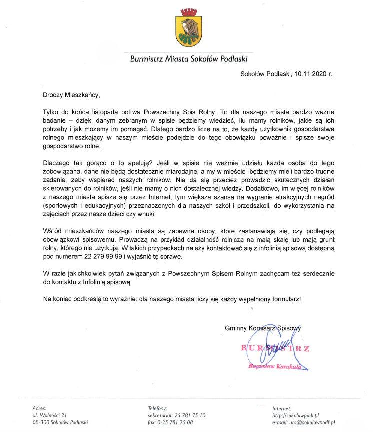 List Burmistrza do mieszkańców - skan dokumentu