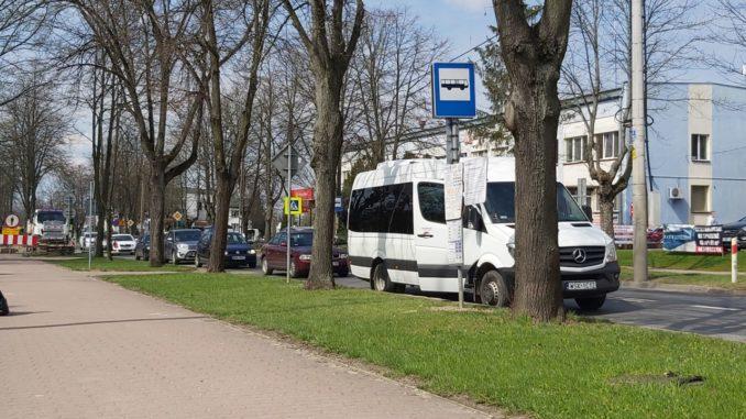 Tymczasowy przystanek autobusowy przy ulicy Wolności