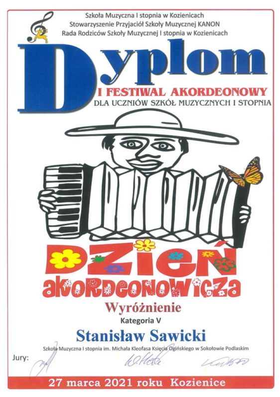 """foto: Festiwal Akordeonowy """"Dzień Akordeonowicza"""" - Dyplom Sawicki S. 1 724x1024"""