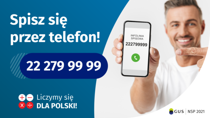 Po lewej stronie grafiki jest napis: Spisz się przez telefon i numer telefonu 22 279 99 99. Po prawej stronie jest mężczyzna, który trzyma w dłoni telefon i wskazuje na jego wyświetlacz. Na ekranie telefonu widać napis infolinia spisowa i numer telefonu. Na dole grafiki są cztery małe koła ze znakami dodawania, odejmowania, mnożenia i dzielenia, obok nich napis: Liczymy się dla Polski! W prawym dolnym rogu jest logotyp spisu: dwa nachodzące na siebie pionowo koła, GUS, pionowa kreska, NSP 2021.