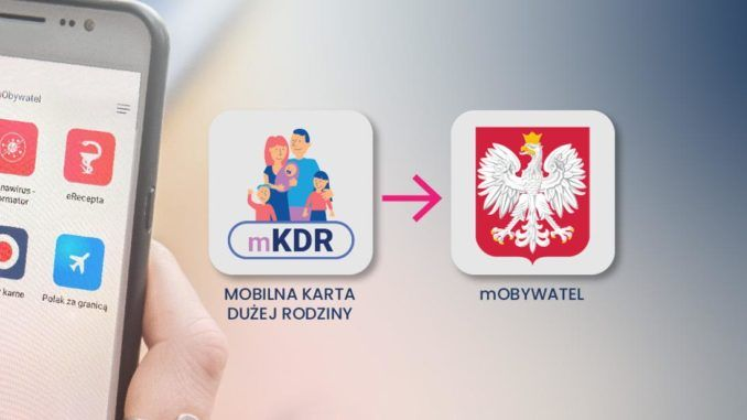 z lewej strony jest smartfon. po prawej stronie logo mkdr strzałka oraz godło Polski