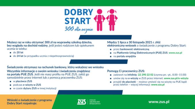 infografika Dobry Start 300 dla ucznia informacje nt. świadczenia