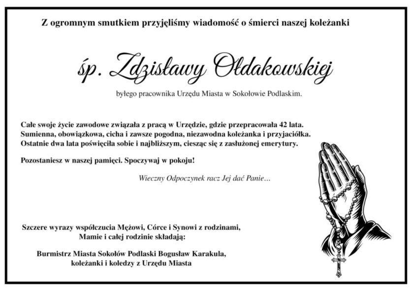 zmarła Zdzisława Ołdakowska