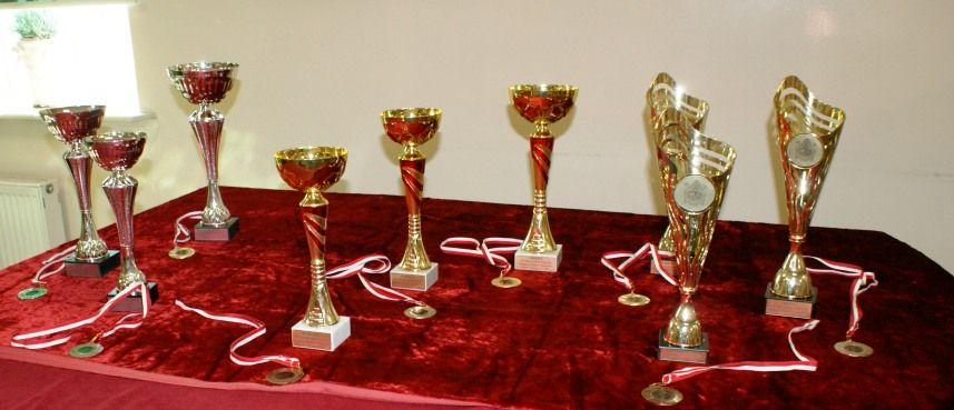 puchary i medale na czerwonym tle