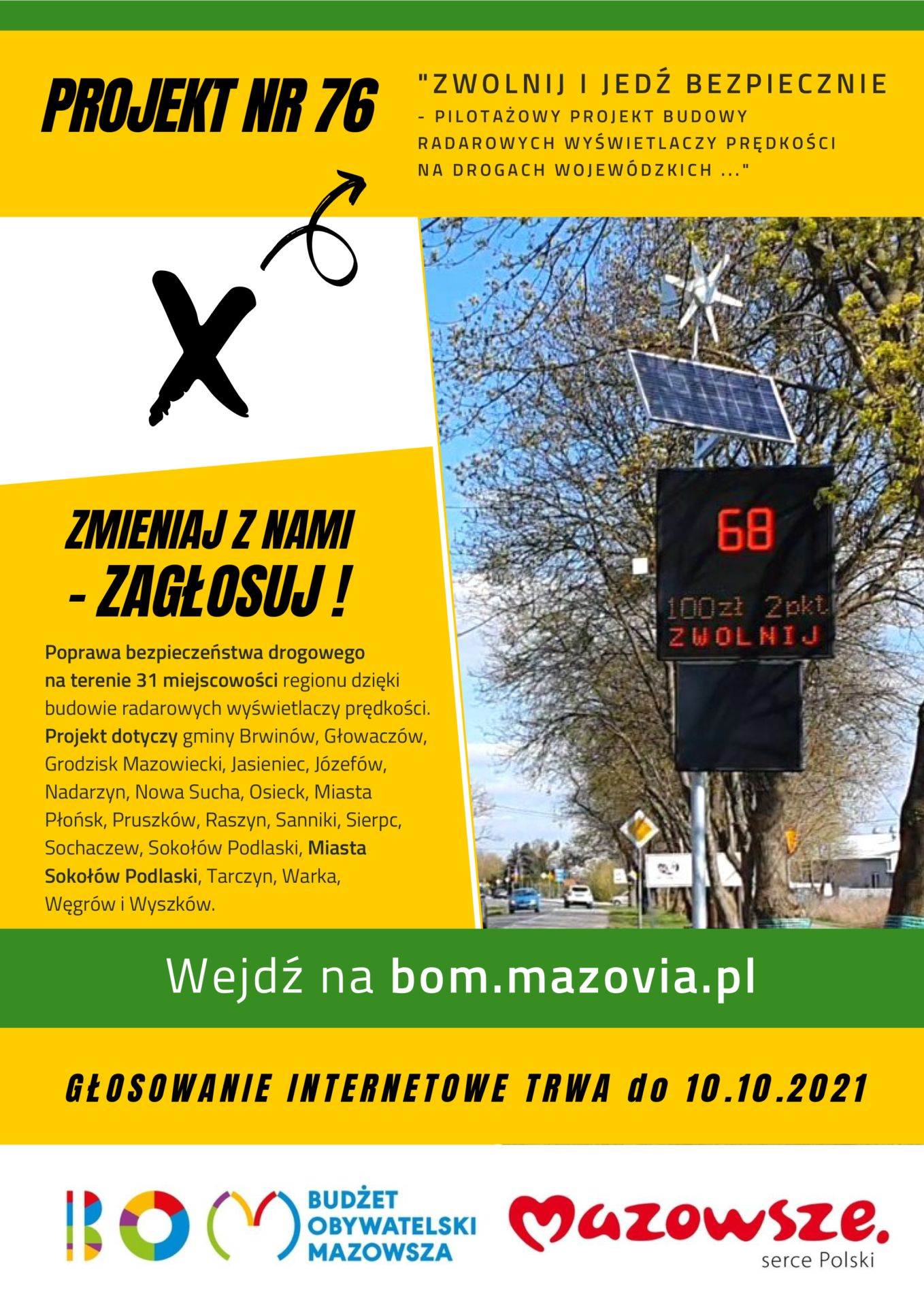 foto:  - Sokolow Podlaski miasto BOM Zwolnij i jedz Bezpieczniej plakat A4